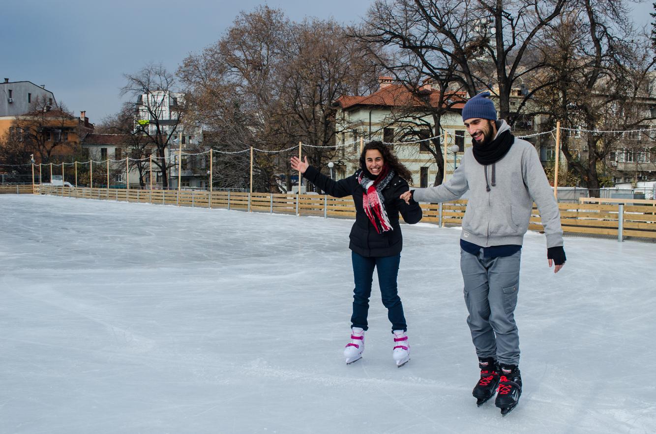 Patinaje sobre hielo en Plovdiv, Bulgaria